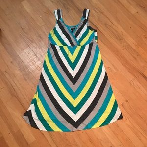 Apt 9 stripe midi blue white grey sleeveless dress